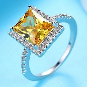 Citrine AAA CZ White Gold Ring